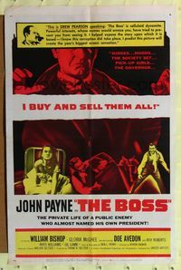 2e071 BOSS one-sheet '56 judges, Governors, pick-up girls, John Payne buys and sells them all!