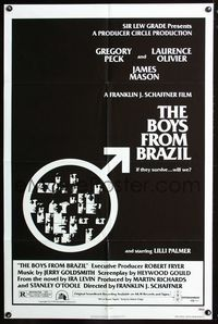 2e072 BOYS FROM BRAZIL one-sheet poster '78 Gregory Peck is a Nazi on the run from Laurence Olivier!