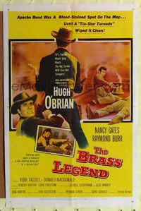 2e073 BRASS LEGEND one-sheet movie poster '56 tin-star tornado Hugh O'Brian wiped clean Apache Bend!