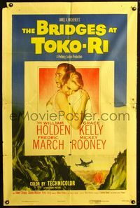 2e075 BRIDGES AT TOKO-RI one-sheet '54 Grace Kelly, William Holden, Korean War, by James Michener!