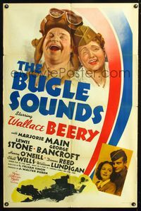 2e076 BUGLE SOUNDS style C one-sheet '42 great art of military man Wallace Beery & Marjorie Main!
