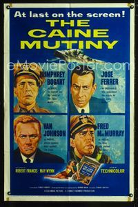 2e077 CAINE MUTINY one-sheet '54 art of Humphrey Bogart, Jose Ferrer, Van Johnson & Fred MacMurray!