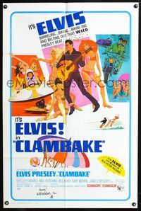 2e004 CLAMBAKE signed one-sheet '67 by Will Hutchins, great artwork of Elvis Presley & sexy babes!