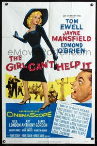 2e010 GIRL CAN'T HELP IT one-sheet poster '56 art of sexy Jayne Mansfield, Tom Ewell, rock & roll!