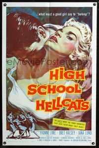 2e007 HIGH SCHOOL HELLCATS one-sheet '58 best AIP bad girl art, what must a good girl say to belong?