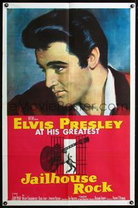 2e001 JAILHOUSE ROCK one-sheet '57 classic head-and-shoulders art of rock & roll king Elvis Presley!