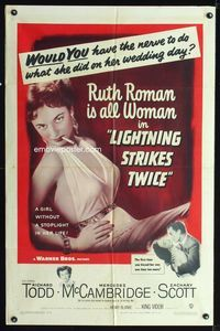 2e011 LIGHTNING STRIKES TWICE one-sheet poster '51 sexy smoking bad girl Ruth Roman is all woman!
