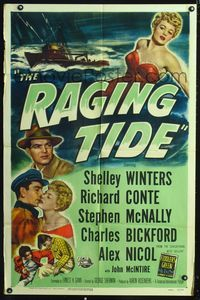 2e012 RAGING TIDE one-sheet movie poster '51 art of sexy bad girl Shelley Winters & ship in ocean!