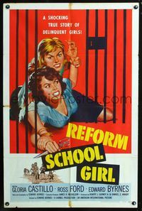 2e009 REFORM SCHOOL GIRL one-sheet poster '57 classic AIP bad girl catfight behind bars artwork!