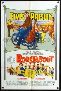 2e003 ROUSTABOUT one-sheet '64 roving, restless, reckless Elvis Presley on motorcycle with guitar!