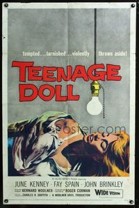 2e013 TEENAGE DOLL one-sheet '57 art of sexy tempted & tarnished bad girl violently thrown aside!