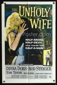 2e014 UNHOLY WIFE one-sheet movie poster '57 art of sexy half-devil half-angel bad girl Diana Dors!