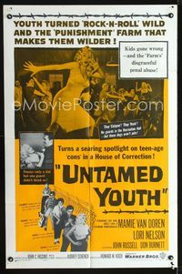 2e015 UNTAMED YOUTH one-sheet poster '57 art of sexy bad Mamie Van Doren in a Hosue of Correction!