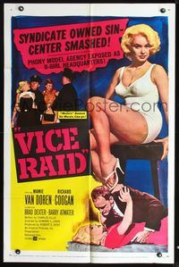 2e016 VICE RAID one-sheet movie poster '60 super sexy barely-dressed phony model Mamie Van Doren!