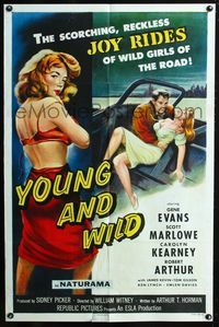 2e017 YOUNG & WILD one-sheet poster '58 artwork of the reckless joy rides of wild girls of the road!