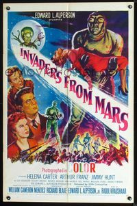 2n661 INVADERS FROM MARS one-sheet poster R55 classic sci-fi, wonderful artwork of cast & aliens!