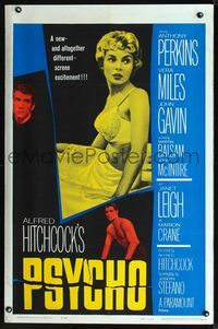 2n789 PSYCHO one-sheet poster '60 sexy half-dressed Janet Leigh, Anthony Perkins, Alfred Hitchcock