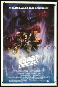 2o829 EMPIRE STRIKES BACK GWTW style 1sh '80 George Lucas sci-fi classic, cool art by Roger Kastel!
