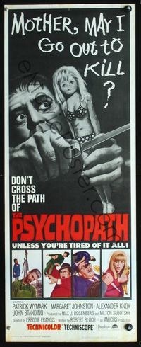 2o220 PSYCHOPATH insert movie poster 66 Robert Bloch wild image Mother may I go out to kill