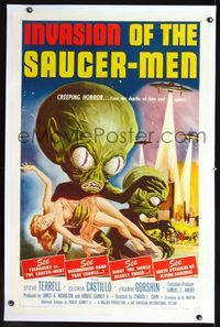 2p002 INVASION OF THE SAUCER MEN linen 1sh '57 classic Kallis art of cabbage head aliens & sexy girl