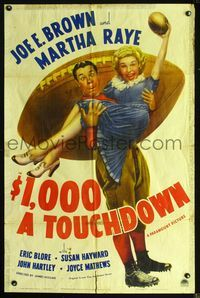 2r011 $1,000 A TOUCHDOWN style A 1sheet '39 great art of football player Joe E. Brown holding Martha Raye!