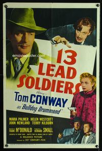 2r016 13 LEAD SOLDIERS one-sheet poster '48 Tom Conway as Bulldog Drummond, detective thriller!