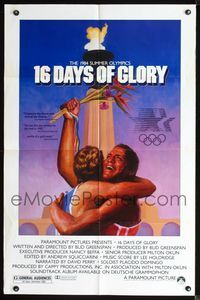 2r017 16 DAYS OF GLORY one-sheet movie poster '86 1984 Summer Olympics, great athelete image!