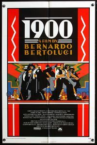 2r018 1900 one-sheet movie poster '77 Bernardo Bertolucci, Robert De Niro, cool Doug Johnson art!