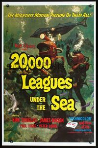 2r023 20,000 LEAGUES UNDER THE SEA one-sheet R71 Jules Verne underwater classic, wonderful art!
