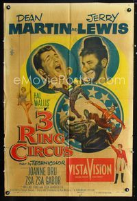 2r028 3 RING CIRCUS one-sheet poster '54 Dean Martin & clown Jerry Lewis, Joanne Dru, Zsa Zsa Gabor