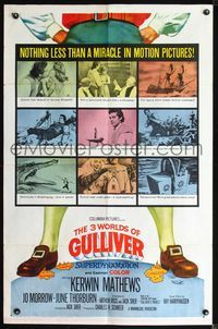 2r029 3 WORLDS OF GULLIVER 1sheet '60 Ray Harryhausen fantasy classic, great art of Kerwin Mathews!