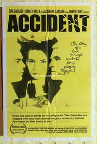 2r033 ACCIDENT one-sheet movie poster '67 Losey, written by Harold Pinter, sexy Jacqueline Sassard!