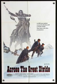 2r034 ACROSS THE GREAT DIVIDE one-sheet movie poster '77 Ralph McQuarrie Native American art!