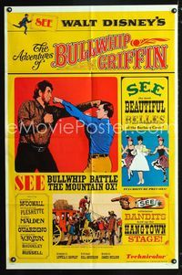 2r037 ADVENTURES OF BULLWHIP GRIFFIN one-sheet '66 Disney, beautiful belles, mountain ox battle!