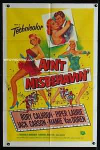 2r041 AIN'T MISBEHAVIN' one-sheet movie poster '55 sexy artwork of Piper Laurie & Mamie Van Doren!
