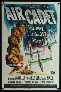 2r042 AIR CADET one-sheet poster '51 the story of U.S. Air Force jet pilots, cool airplane art!
