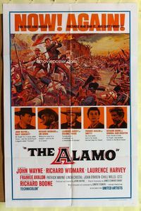 2r043 ALAMO one-sheet poster R67 Reynold Brown artwork of fighting John Wayne & Richard Widmark!
