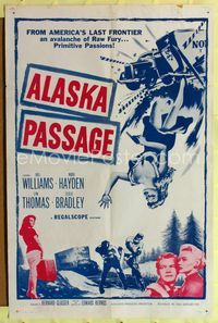 2r044 ALASKA PASSAGE one-sheet movie poster '59 America's last frontier, an avalanche of raw fury!