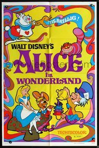 2r045 ALICE IN WONDERLAND one-sheet movie poster R74 Disney, great different psychedelic artwork!