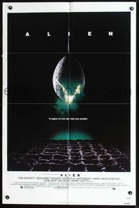 2r046 ALIEN one-sheet '79 Ridley Scott outer space sci-fi monster classic, cool hatching egg image!
