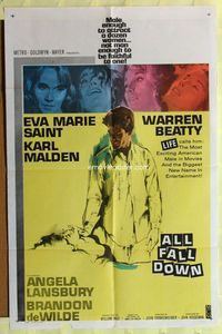2r050 ALL FALL DOWN one-sheet poster '62 Warren Beatty, Eva Marie Saint, Karl Malden, Frankenheimer