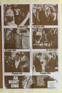 2r051 ALL NIGHT LONG style B one-sheet movie poster '63 Patrick McGoohan, Richard Attenborough