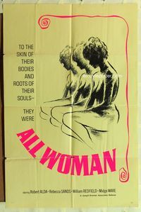 2r052 ALL WOMAN one-sheet movie poster '67 Robert Alda, Rebecca Sand, William Redfield