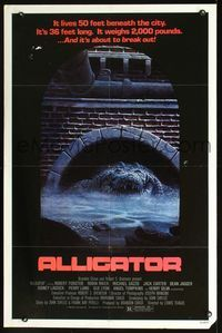 2r053 ALLIGATOR 1sheet '80 it's 36 feet long, it weighs 2,000 pounds, and it's about to break out!