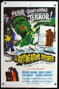2r054 ALLIGATOR PEOPLE one-sheet '59 Beverly Garland, Lon Chaney, they'll make your skin crawl!