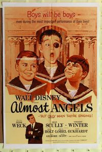 2r055 ALMOST ANGELS one-sheet movie poster '62 Walt Disney, great artwork of choirboys!