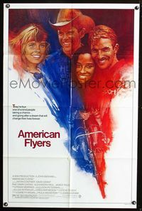 2r058 AMERICAN FLYERS one-sheet movie poster '85 Kevin Costner, David Grant, cool bicyclist art!