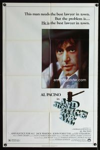 2r060 AND JUSTICE FOR ALL one-sheet movie poster '79 Al Pacino is out of order!
