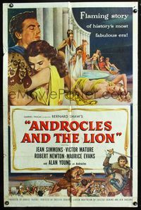 2r061 ANDROCLES & THE LION one-sheet movie poster '52 artwork of Victor Mature holding Jean Simmons!