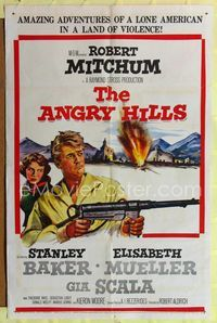 2r064 ANGRY HILLS one-sheet '59 Robert Aldrich, artwork of Robert Mitchum with big machine gun!